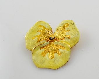 Vintage Yellow and Gold Pansy Brooch