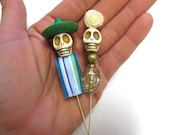 Senor & Senorita Cake Topper Sugar Skull Day of the Dead Wedding Bride Groom Caketopper
