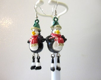 Dancing Penguin Earrings Holiday Winter Christmas Jewelry Articulated Black White