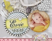 CHEVRON PERSONALIZED Key Chain (or Necklace)Date of Birth Photograph Keychain New Mom Grandma Mimi, Bottle cap, Mother's Day Gift Birthday