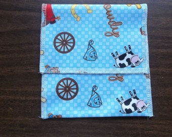 Nursing pad pouch Made with PUL bright Cowboy design