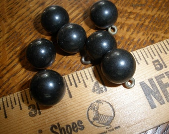 """Vintage black ball pin shank beads buttons 1/2"""" (13MM 20L) early composite plastic metal sewing crafts jewelry retro"""