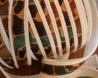"Camo Cotton Webbing 5/8"" ribbon on 1"" white strapping 2 yards Key Fobs Belt Purse Bag Straps Leash Trim yardage brown green"