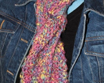 Lavender-Pink-Yellow Variegated Knit Scarf (S969)