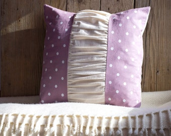 Polka Dot Pillow Cover 16 x 16 Cushion in White and Pink, Romantic Home Decor