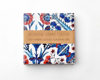 Boho Flowers Ceramic Coasters Watercolor Pattern Blue Red Bohemian Iznik Tiles Style Drink Coasters, set of 4