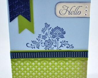 Hello Greeting Card, Friend, For Her, Navy, Green, Light Blue, Blue, Vintage, Flowers, Banners, Ribbon, Scallop Trim, Rhinestones