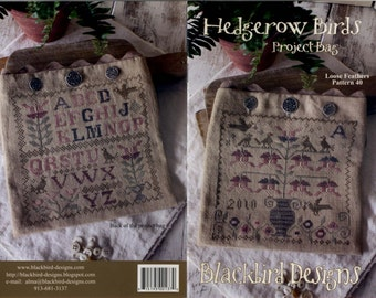 Blackbird Designs: Loose Feathers #40 – Hedgerow Birds Project Bag (OOP) - Cross Stitch Pattern