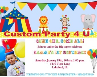 Circus Photo Invitation