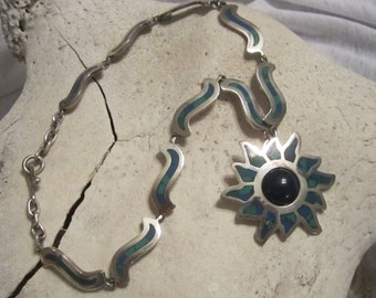 Vintage Mexico Jewelry Lapis Jewelry Sterling Silver Jewelry Sterling Necklace