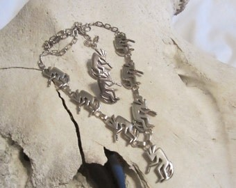 Native American Solid Sterling Silver Kokopelli Necklace Squash Blossom Jewelry Set Stamped