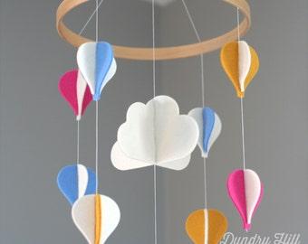 Boho Chic Nursery - 100% Merino Wool Felt - Lightfast Colors - Heirloom Quality - Yellow, Pink & Light Blue Hot Air Balloons Baby Mobile