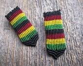 Handmade Micro Macrame Earrings in Rastafarian Colors