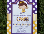 Cheerleader Invitation Printable or Printed with FREE SHIPPING- Pick Hair Color/Skin Tone and Team/Party Colors