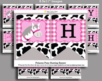 Princess Pony Banner - Instant Download - Happy Birthday Banner Printable -  Princess Pony Collection
