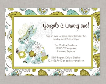 Easter Birthday Invitation, Bunny Birthday Invitation, Printable
