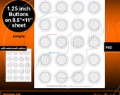 """INSTANT DOWNLOAD - for 1.25"""" Button 1.629"""" Cut Line 1.156"""" Image Area TEMPLATE 144 Printable Badges Accessories Jewelry Stickers pyo diy"""