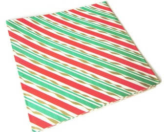 Vintage Wrapping Paper - Conceptual Christmas - Christmas Gift Wrap - - One Sheet - Red Green Gold Stripes