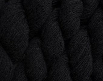 Black and Marl Recycled Merino Nylon Blend  Sport Weight Yarn, 169 yards