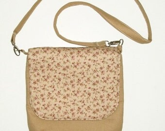 Messenger Bag,iPad Nook Kindle eReader, Shoulder Bag, Swing Bag, Country Bag, Vintage Flowers