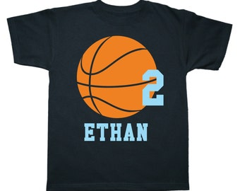 Personalized Basketball Sportsball Birthday Shirt - any age and name - pick your colors!