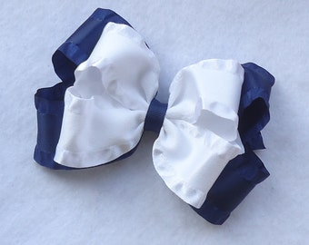 Double Ruffle Hair Bow, Navy and White Double Ruffle Hairbow, Nautical Hair Bow, Salior Hair Bow,  Hair Bows for Special Occasions/Church