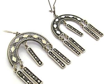 925 Sterling Silver Artisan Chandelier Earrings - ID1113