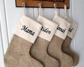 4 Personalized Burlap Muslin Christmas Stockings Embroidered Name Natural Jute Burlap Unbleached Muslin