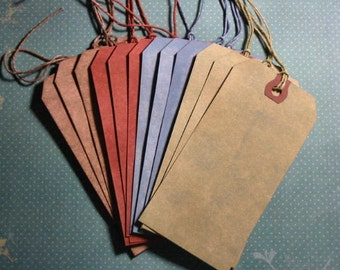 Hand Dyed Tags - Set of 12 - Earthtones
