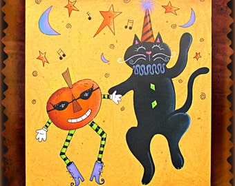 E PATTERN - Thyme to BOOgie! Fun and Festive Cat and Pumpkin Dance the Night away! Designed & Painted by Sharon Bond - FAAP
