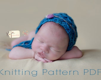 KNITTING pattern newborn bonnet hat  Bobby textured bonnet  may sell all finished items instant download pdf