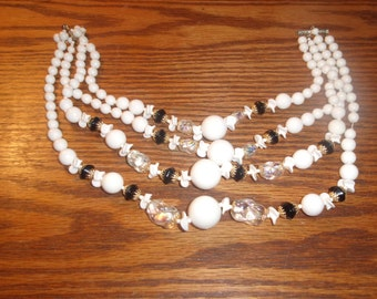 vintage necklace four strand black white glass beads