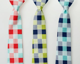 Boys Ties - Red/Aqua, Lime/Navy, or Navy/Aqua Check - Toddler Neckties