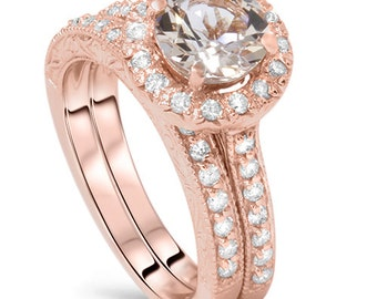 2.50CT Morganite & Diamond Engagement Ring Wedding Set 14K Rose Gold Vintage Antique Band Size 4-9