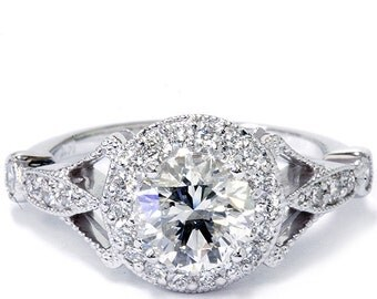 1.00Ct Vintage Halo Diamond 1/2CT Center Antique Engagement Ring 14K White Gold