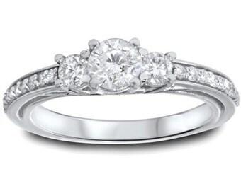 1.25CT 3-Stone Diamond Ring 14K White Gold