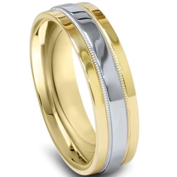 Platinum Double Milgrain 6mm Wide Flat Wedding Band Ring: Platinum & 18K Yellow Gold 6MM Flat Comfort Fit Wedding Ring