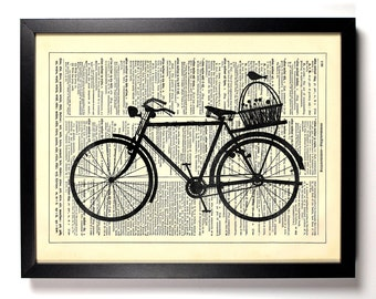 A Bike, A Basket And A Bird, Home, Kitchen, Nursery, Office Decor, Wedding Gift, Eco Friendly Book Art, Vintage Dictionary Print 8 x 10 in.
