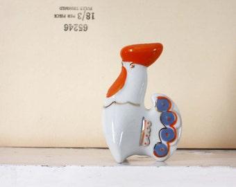 Folk Porcelain Salt Shaker. Cockerel. White, Orange, Blue, Gold. Russian  Soviet  Vintage.