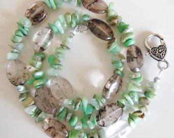 Tourmaline on Mint gemstone Necklace 558