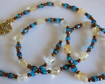 Honey drops on blue Necklace  379