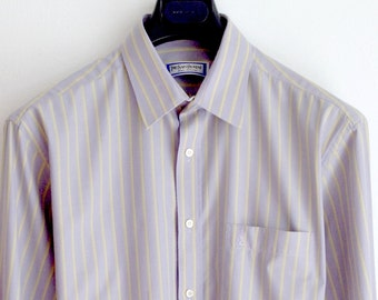 Yves Saint Laurent Lilac Stripe Shirt / Size 15.5 x 34 Dress Shirt / YSL Logo Embroidery and Buttons / Lilac n Yellow Stripe