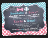 Baseballs OR Bows Western Style Gender Reveal Invitation Digital File YOU-PRINT