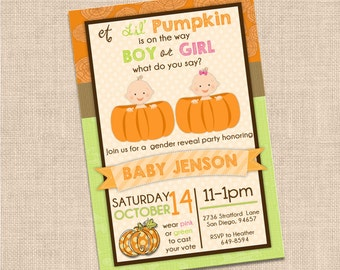 Lil' Pumpkin Gender Reveal Invitataion