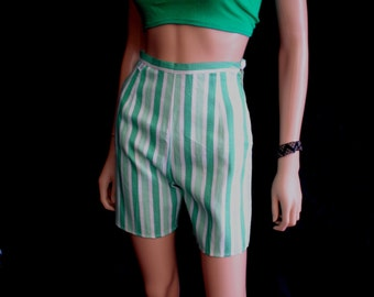 "60s 24"" XS DEADSTOCK High Waisted Shorts Cotton Green White Herringbone"