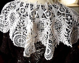 SALE Beautiful OOAK Antique Handmade Cotton Guipure Lace Capelet/Shawl/Collar/Bib Downton Abbey