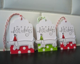 Dog Christmas Gift Tags Set of 5, Dog Hang Tags, Holiday Gift Tags