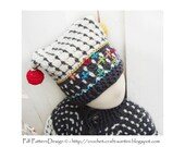 Fair Isle Hat with Crochet Balls and embellishing embroidery - Crochet Pattern - Instant Download Pdf