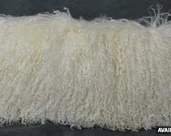 Real Genuine Natural Mongolian Lamb fur Pillow new made in usa authentic tibet fur cushion insert included