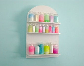 Neon Pastel Apothecary Display in Vintage White Display